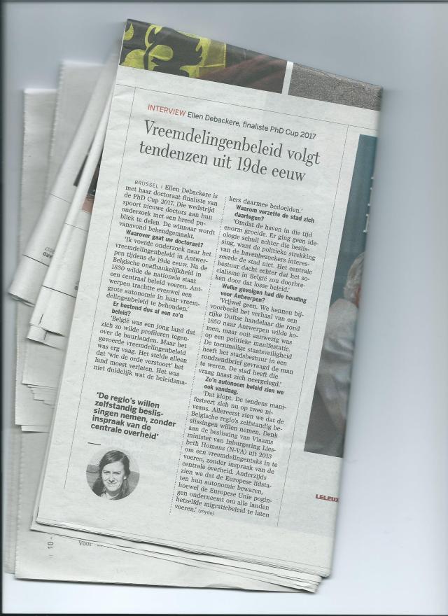 artikel in De Standaard 02 oktober 2017